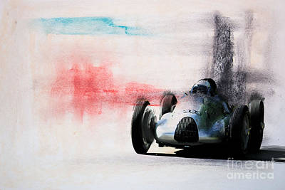 1938 Auto Union Type D Poster by Roger Lighterness