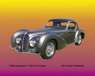1938 Delahaye Type 145 V 12 Coupe Poster by Jack Pumphrey
