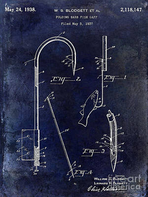1938 Fishing Gaff Patent Drawing Blue Poster