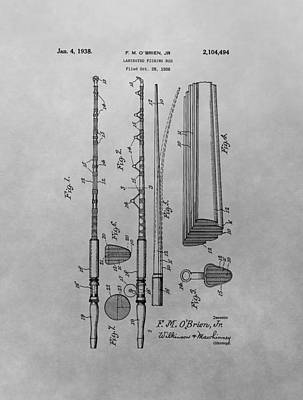 1938 Fishing Rod Patent Poster by Dan Sproul