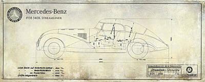 1938 Mercedes-benz 540 K Streamliner Blueprint A Poster