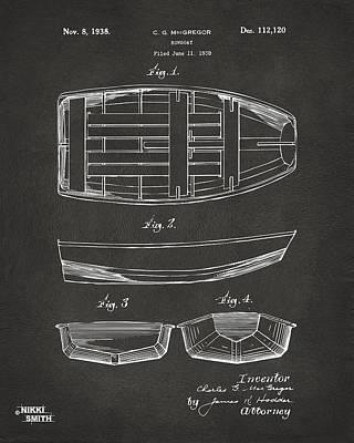 1938 Rowboat Patent Artwork - Gray Poster