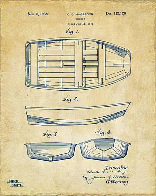 1938 Rowboat Patent Artwork - Vintage Poster