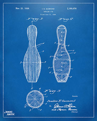 1939 Bowling Pin Patent Artwork - Blueprint Poster by Nikki Marie Smith