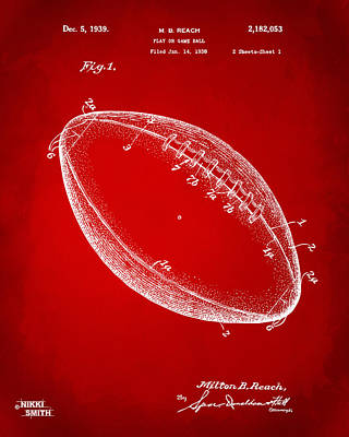 1939 Football Patent Artwork - Red Poster