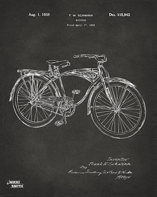 1939 Schwinn Bicycle Patent Artwork - Gray Poster by Nikki Marie Smith