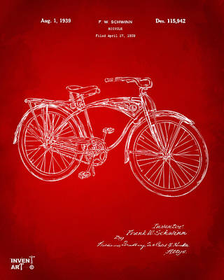 1939 Schwinn Bicycle Patent Artwork Red Poster