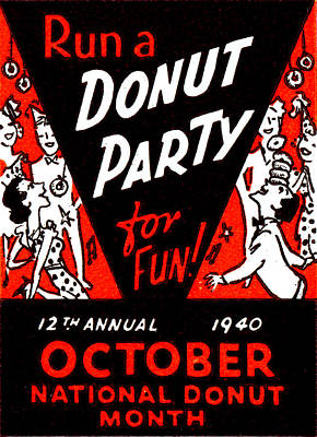 1940 Donut Party Poster Poster by Historic Image