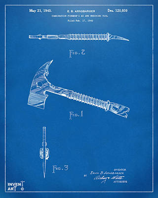 1940 Firemans Axe Artwork Blueprint Poster by Nikki Marie Smith