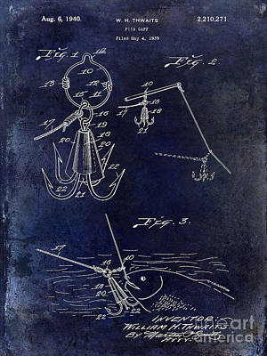1940 Fishing Gaff Patent Drawing Blue Poster