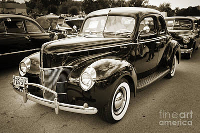 1940 Ford Classic Car Or Antique Automobile Photograph In Sepia  Poster