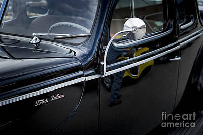 1940 Ford Classic Car  Side Door And Mirror Photograph In Color  Poster