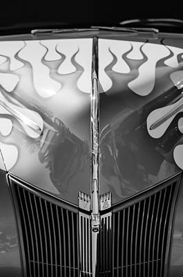 1940 Ford Hot Rod Flamed Hood -264bw Poster