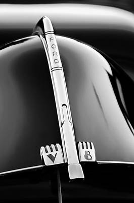1940 Ford V8 Hood Ornament -323bw Poster by Jill Reger