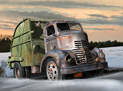 Poster featuring the digital art 1940 Gmc Garbage Truck by Stuart Swartz