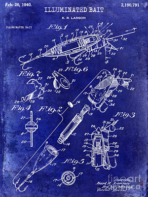 1940 Illuminated Bait Patent Drawing Poster