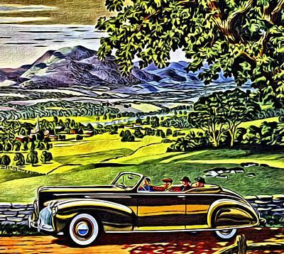 1940 Lincoln Zephyr Convertible Ad Poster by Florian Rodarte