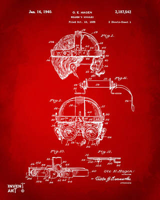 1940 Welders Goggles Patent Artwork Red Poster