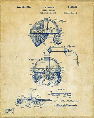 1940 Welders Goggles Patent Artwork Vintage Poster