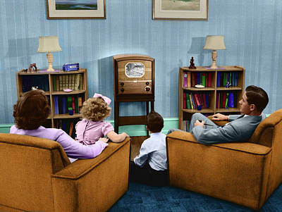 1940s 1950s Family Watching Television Poster