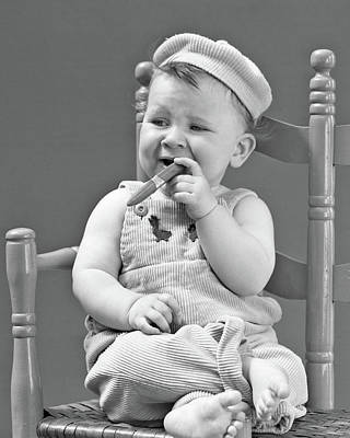 1940s Baby Sitting Chair Holding Cigar Poster