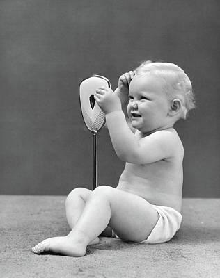 1940s Blond Baby Girl Holding Vanity Poster