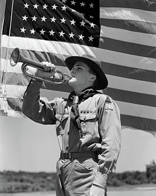 1940s Boy Scout Playing Bugle In Front Poster