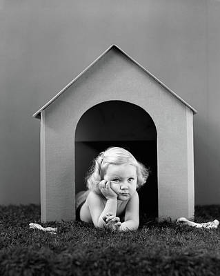 1940s Girl In Doghouse Lying On Grass Poster