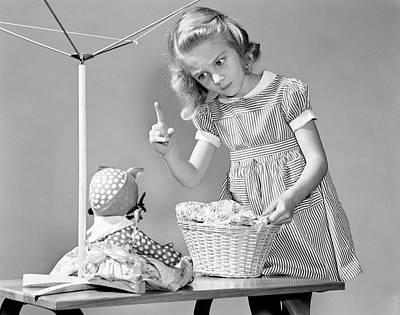 1940s Girl Shaking Her Finger At Doll Poster