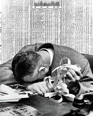 1940s Man Head On Desk Holding Stock Poster