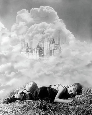 1940s Montage Of Farm Boy Asleep On Hay Poster