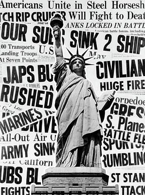 1940s Montage Of World War II Headlines Poster