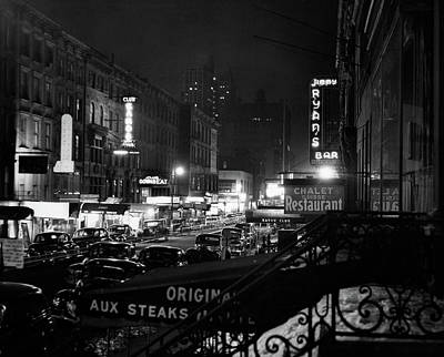 1940s Night Street Scene West 52nd Poster