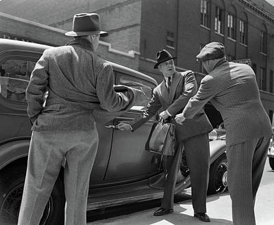 1940s Pair Of Gangsters Holding Up Man Poster