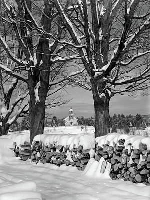 1940s Pile Of Snow-covered Firewood Poster