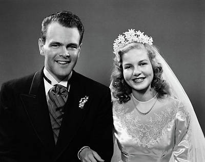 1940s Portrait Of Bride And Groom Poster