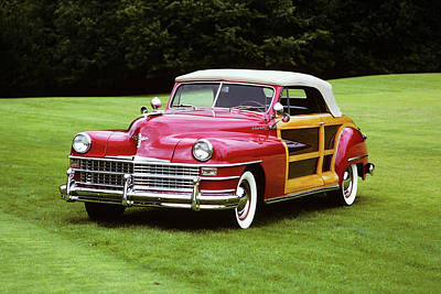 1940s Red 1948 Chrysler Town Poster