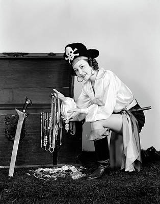 1940s Smiling Woman Wearing Pirate Poster