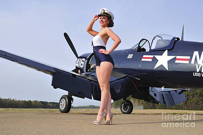 1940s Style Navy Pin-up Girl Posing Poster by Christian Kieffer