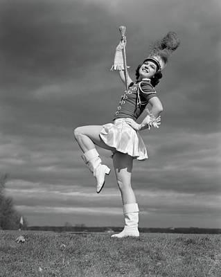 1940s Woman Drum Major In Majorette Poster