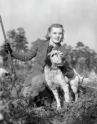 1940s Woman Hunter Wearing Tweed Suit Poster