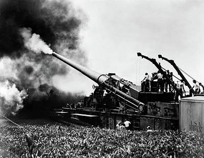 1940s Wwii Big Artillery Railroad Gun Poster