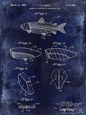 1941 Fish Cleaning Patent Patent Drawing Blue Poster by Jon Neidert