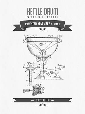 1941 Kettle Drum Patent Drawing Poster by Aged Pixel