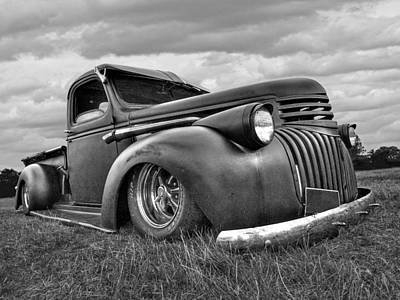 1941 Rusty Chevrolet In Black And White Poster