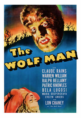 1941 The Wolf Man Vintage Movie Art Poster