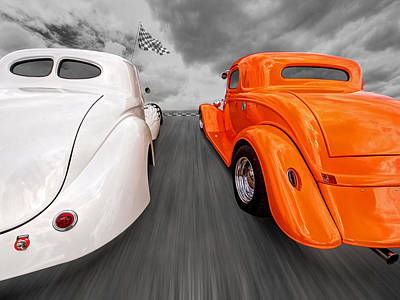 1941 Willys Vs 1934 Ford Coupe Poster by Gill Billington