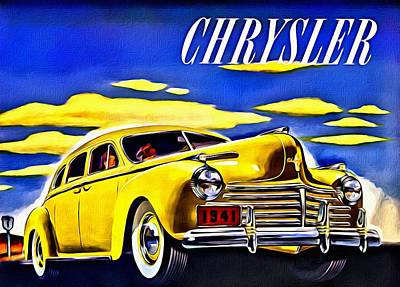 1941 Yellow Chrysler Sedan Ad Poster