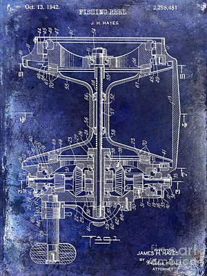 1942 Fishing Reel Patent Drawing Blue Poster by Jon Neidert