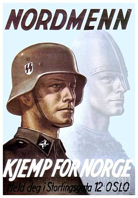 1943 - German Waffen Ss Recruitment Poster - Norway - Color Poster